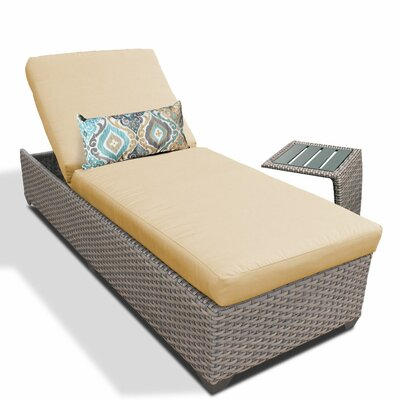 2 Piece Chaise Lounge Set with Cushion Fabric: Sesame