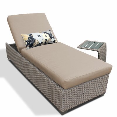 2 Piece Chaise Lounge Set with Cushion Fabric: Wheat