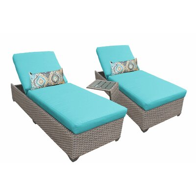 3 Piece Chaise Lounge Set with Cushion Fabric: White
