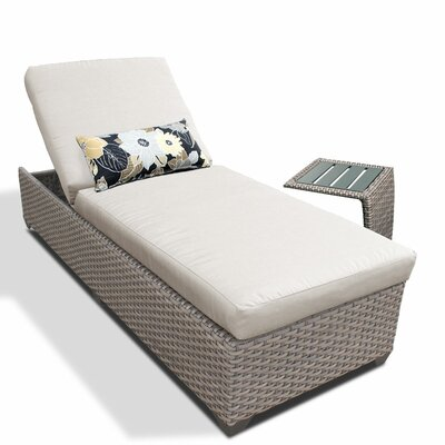 2 Piece Chaise Lounge Set with Cushion Fabric: Beige