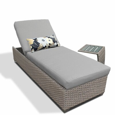 2 Piece Chaise Lounge Set with Cushion Fabric: Gray