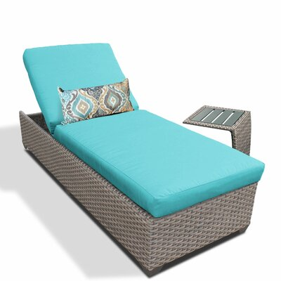 2 Piece Chaise Lounge Set with Cushion Fabric: White