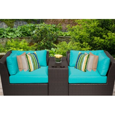 Barbados 3 Piece Deep Seating Group with Cushion Fabric: Aruba