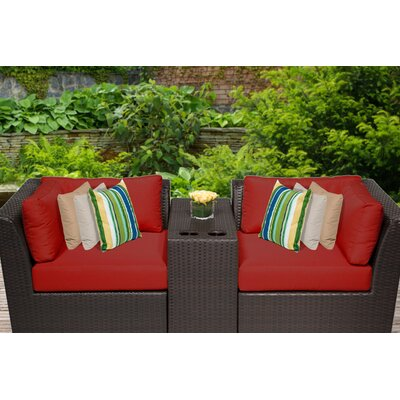 Barbados 3 Piece Deep Seating Group with Cushion Fabric: Terracotta
