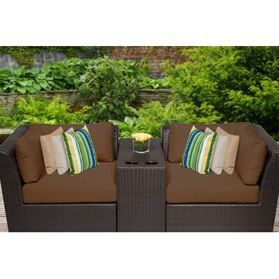 Barbados 3 Piece Deep Seating Group with Cushion Fabric: Cocoa