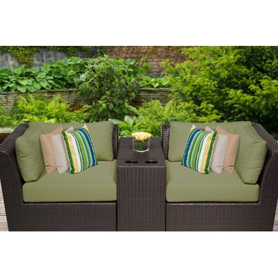 Barbados 3 Piece Deep Seating Group with Cushion Fabric: Cilantro
