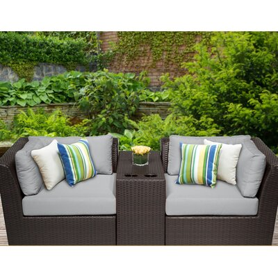Barbados 3 Piece Deep Seating Group with Cushion Fabric: Grey