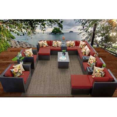 Barbados 17 Piece Sectional Seating Group with Cushion Fabric: Terracotta