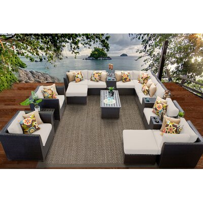 Barbados 17 Piece Sectional Seating Group with Cushion Fabric: Beige