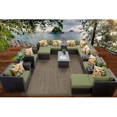 Barbados 17 Piece Sectional Seating Group with Cushion Fabric: Cilantro