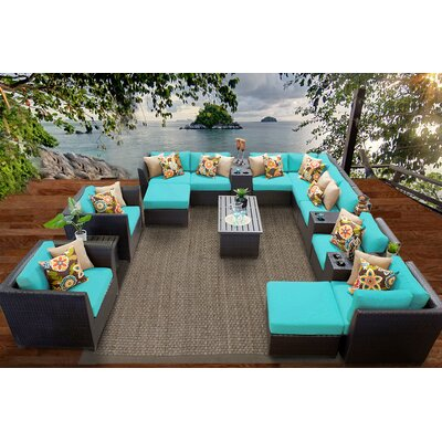 Barbados 17 Piece Sectional Seating Group with Cushion Fabric: Aruba