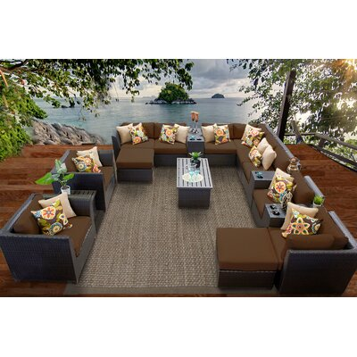 Barbados 17 Piece Sectional Seating Group with Cushion Fabric: Cocoa