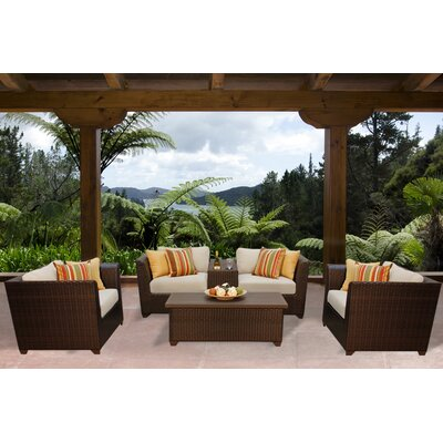 Barbados 6 Piece Deep Seating Group with Cushion Fabric: Beige