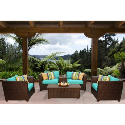 Barbados 6 Piece Deep Seating Group with Cushion Fabric: Aruba