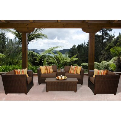 Barbados 6 Piece Deep Seating Group with Cushion Fabric: Cocoa