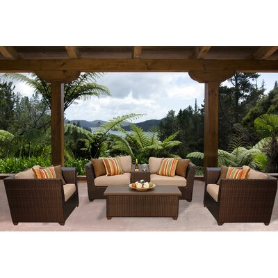 Barbados 6 Piece Deep Seating Group with Cushion Fabric: Wheat