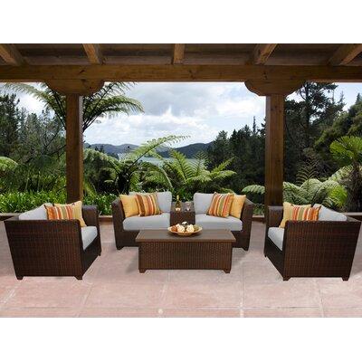 Barbados 6 Piece Deep Seating Group with Cushion Fabric: Grey