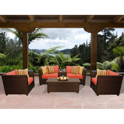 Barbados 6 Piece Deep Seating Group with Cushion Fabric: Tangerine