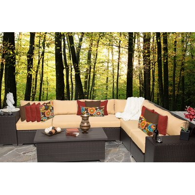 Barbados 9 Piece Sectional Seating Group with Cushion Fabric: Sesame