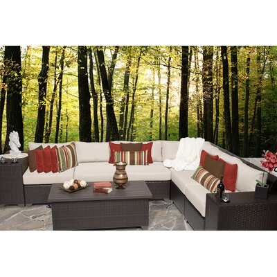 Barbados 9 Piece Sectional Seating Group with Cushion Fabric: Beige