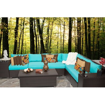 Barbados 9 Piece Sectional Seating Group with Cushion Fabric: Aruba