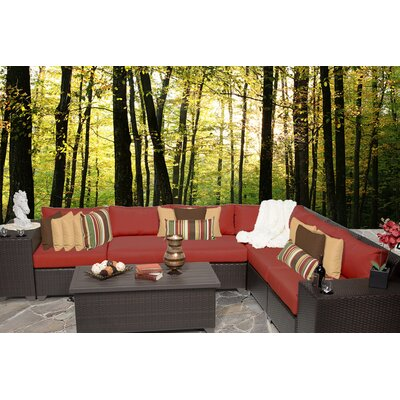 Barbados 9 Piece Sectional Seating Group with Cushion Fabric: Terracotta
