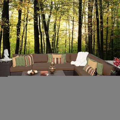 Barbados 9 Piece Sectional Seating Group with Cushion Fabric: Cocoa