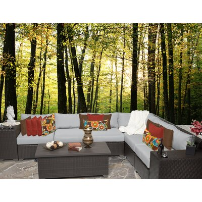 Barbados 9 Piece Sectional Seating Group with Cushion Fabric: Grey