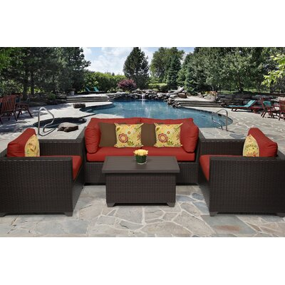 Belle 5 Piece Deep Seating Group with Cushion Fabric: Terracotta