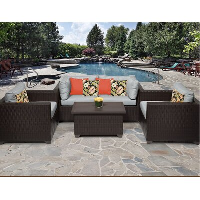 Belle 5 Piece Deep Seating Group with Cushion Fabric: Grey