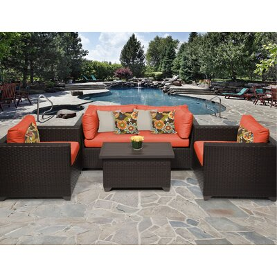 Belle 5 Piece Deep Seating Group with Cushion Fabric: Tangerine