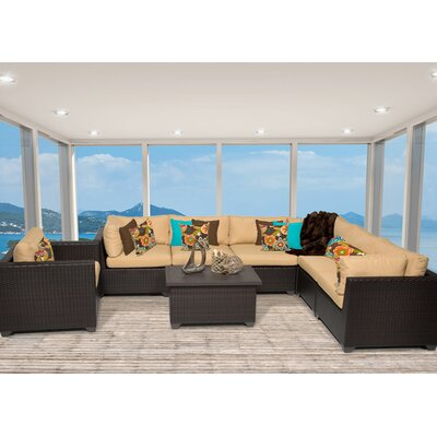 Belle 8 Piece Sectional Seating Group with Cushion Fabric: Sesame