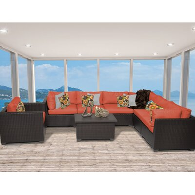 Belle 8 Piece Sectional Seating Group with Cushion Fabric: Tangerine