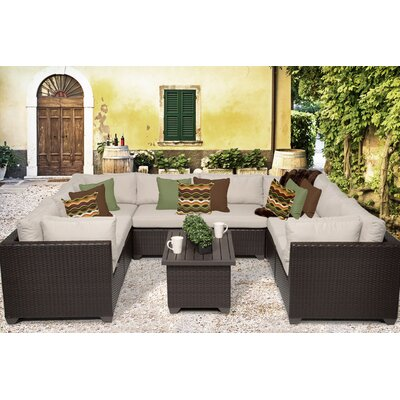 Belle 9 Piece Sectional Seating Group with Cushion Fabric: Beige