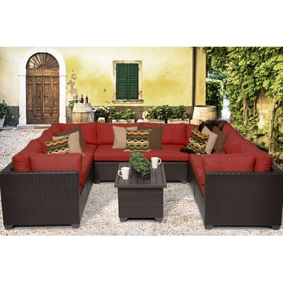 Belle 9 Piece Sectional Seating Group with Cushion Fabric: Terracotta