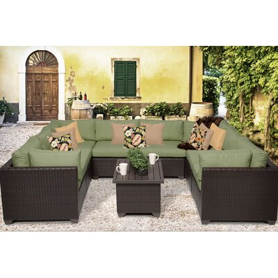 Belle 9 Piece Sectional Seating Group with Cushion Fabric: Cilantro