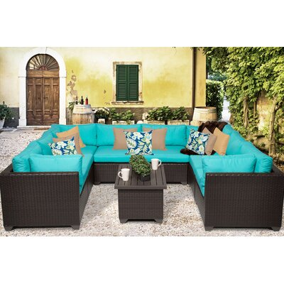 Belle 9 Piece Sectional Seating Group with Cushion Fabric: White