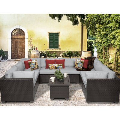Belle 9 Piece Sectional Seating Group with Cushion Fabric: Grey