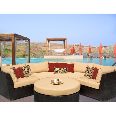Barbados 4 Piece Sectional Seating Group with Cushion Fabric: Sesame