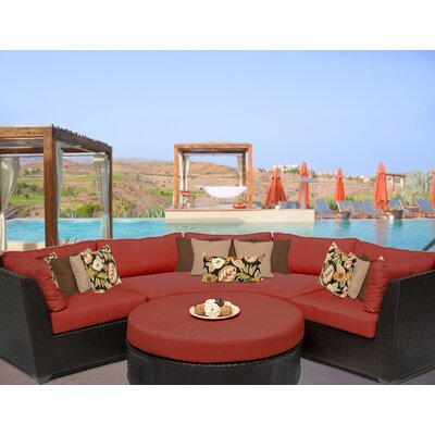 Barbados 4 Piece Sectional Seating Group with Cushion Fabric: Terracotta