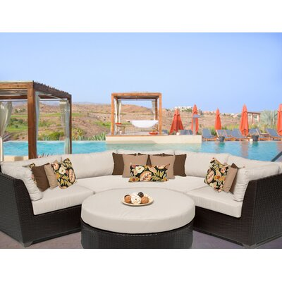 Barbados 4 Piece Sectional Seating Group with Cushion Fabric: Beige