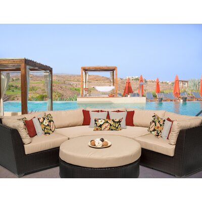 Barbados 4 Piece Sectional Seating Group with Cushion Fabric: Wheat