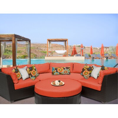 Barbados 4 Piece Sectional Seating Group with Cushion Fabric: Tangerine