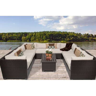 Barbados 11 Piece Sectional Seating Group with Cushion Fabric: Beige