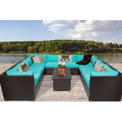 Barbados 11 Piece Sectional Seating Group with Cushion Fabric: Aruba