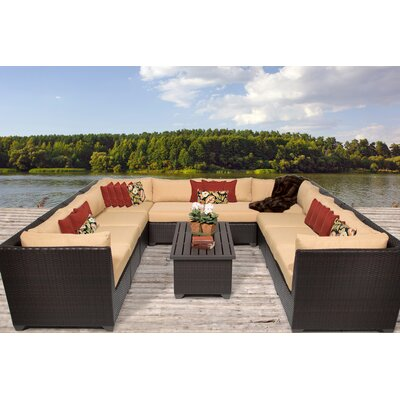 Barbados 11 Piece Sectional Seating Group with Cushion Fabric: Sesame