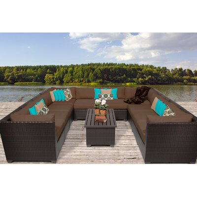 Barbados 11 Piece Sectional Seating Group with Cushion Fabric: Cocoa