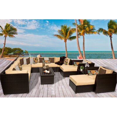 Barbados 13 Piece Sectional Seating Group with Cushion Fabric: Sesame
