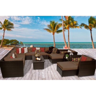 Barbados 13 Piece Sectional Seating Group with Cushion Fabric: Cocoa