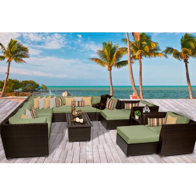 Barbados 13 Piece Sectional Seating Group with Cushion Fabric: Cilantro